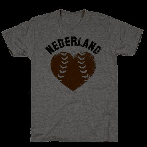 Nederland Baseball Love (Baseball Tee) Mens T-Shirt