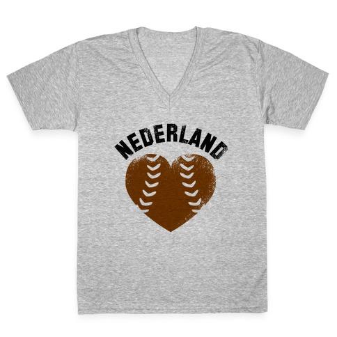 Nederland Baseball Love (Baseball Tee) V-Neck Tee Shirt