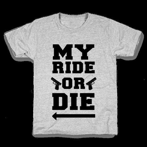 My Ride or Die (Neon Blue) Kids T-Shirt