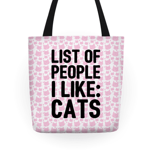 List Of People I Like: Cats Tote