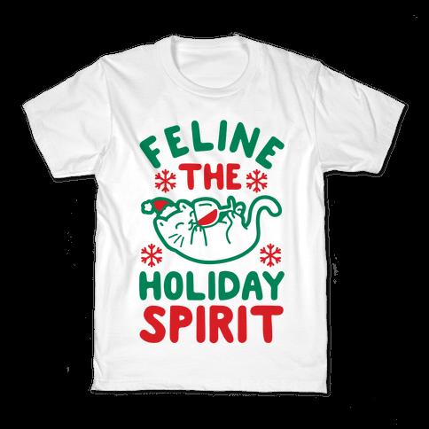 Feline the Holiday Spirit Kids T-Shirt