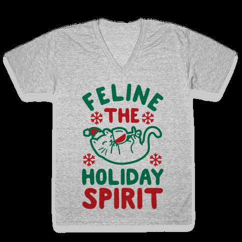 Feline the Holiday Spirit V-Neck Tee Shirt