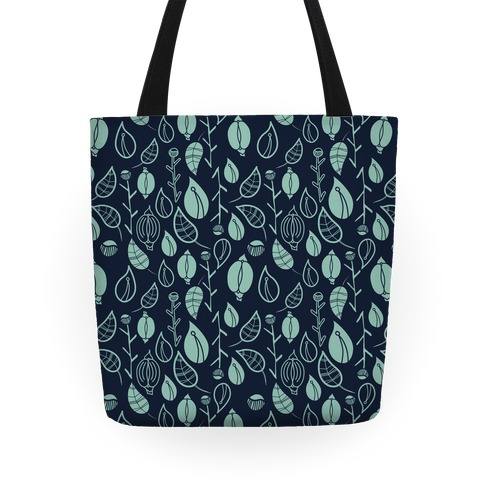 Florals Pattern (Navy) Tote