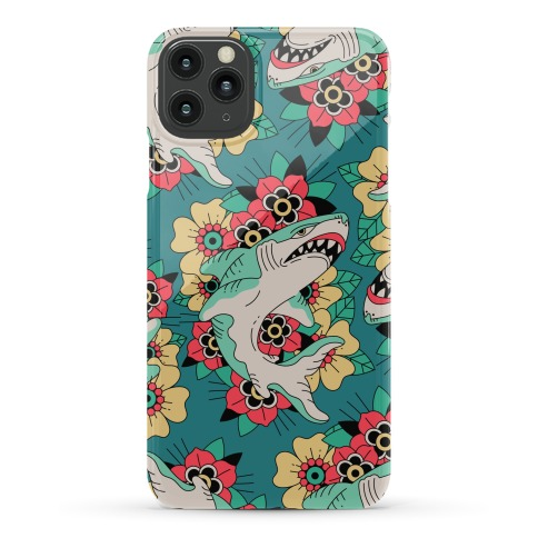 Floral Shark Traditional Tattoo Phone Case