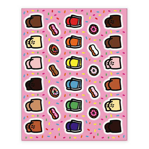 Donuts and Butts Sticker Sheet Sticker and Decal Sheet