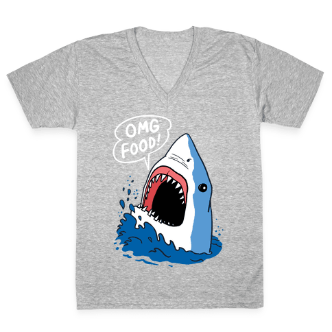 Omg Food Shark V-Neck Tee Shirt