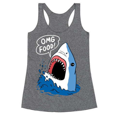 Omg Food Shark Racerback Tank Top
