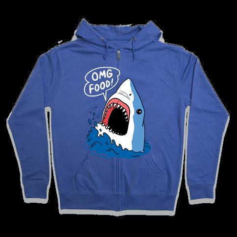 Omg Food Shark Zip Hoodie