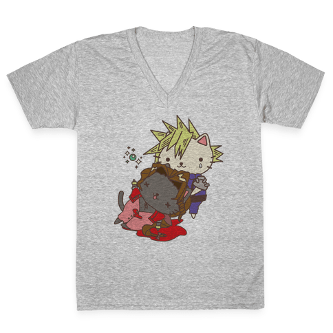 Final Cat Fantasy V-Neck Tee Shirt