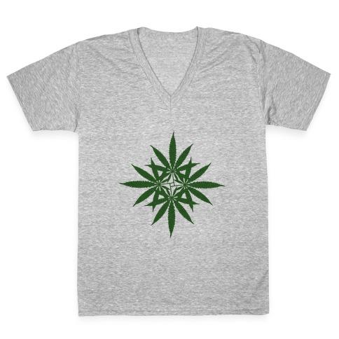 Leaf Pattern V-Neck Tee Shirt