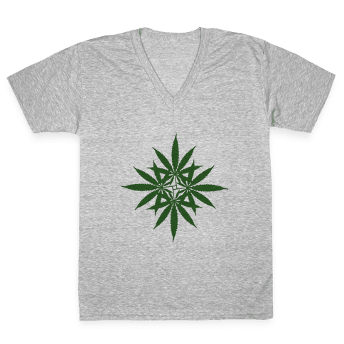Leaf Pattern V-Neck Tee Shirt