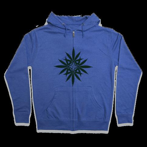 Leaf Pattern Zip Hoodie