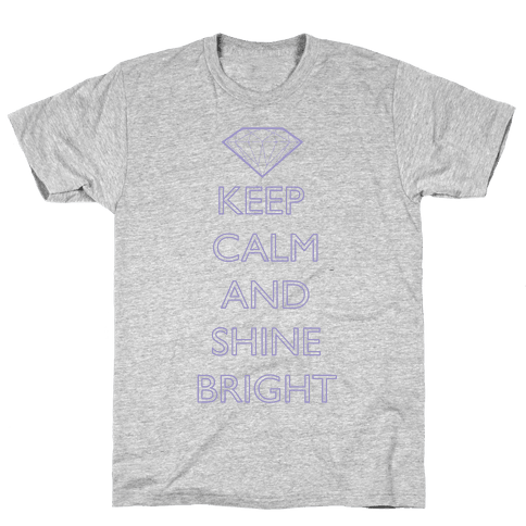 Keep Calm and Shine Bright (Purple) Mens T-Shirt