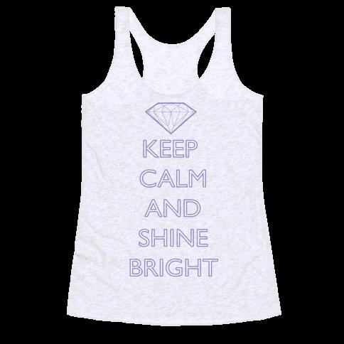 Keep Calm and Shine Bright (Purple) Racerback Tank Top
