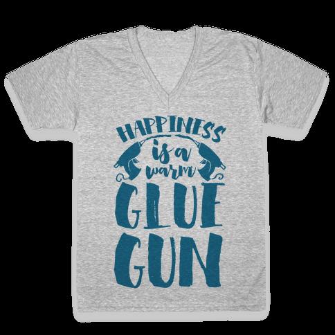 Happiness is a Warm Glue Gun V-Neck Tee Shirt