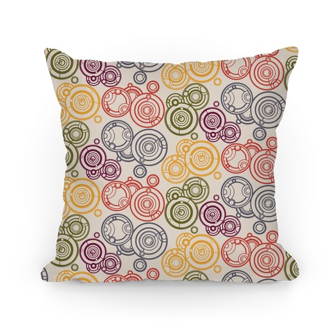 Doctor's Scarf Colored Gallifreyan Writing Pattern Pillow