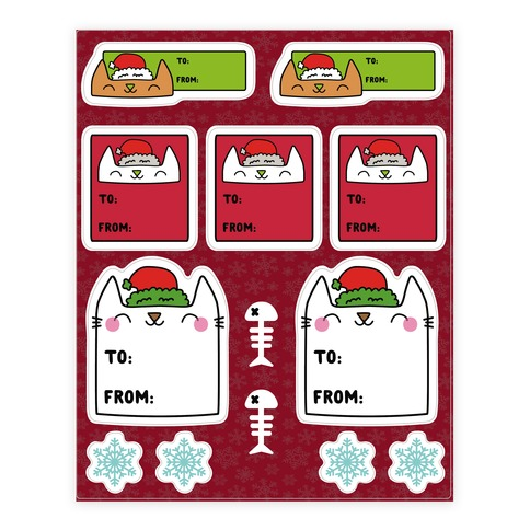 Christmas Cat Sticker and Decal Sheet