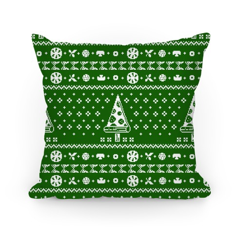 Ugly Pizza Christmas Pattern Pillow