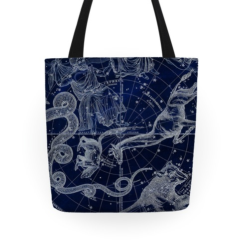 Blue and White Constellations Tote