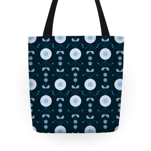 Retro Flower Pattern Tote (Blue) Tote