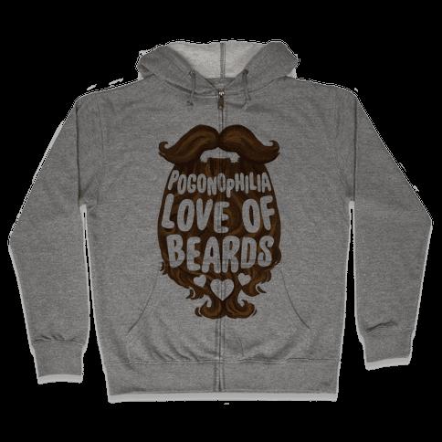 Pogonophilia: The Love Of Beards Zip Hoodie