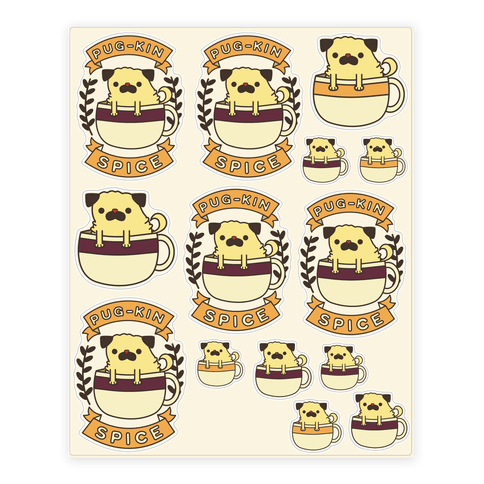 Pugkin Spice  Sticker/Decal Sheet