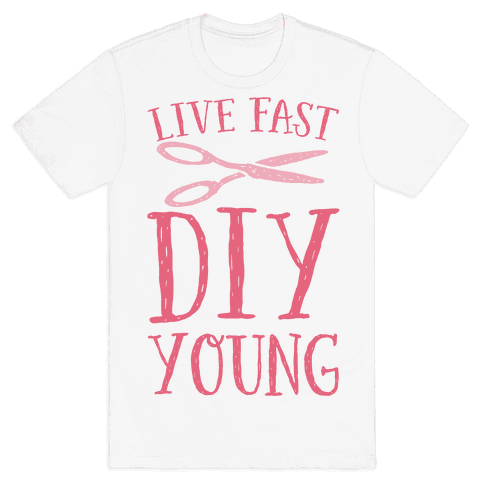 Live Fast DIY Young Mens T-Shirt