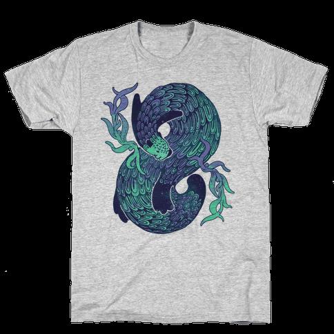 Swirling Wave Otter Mens T-Shirt