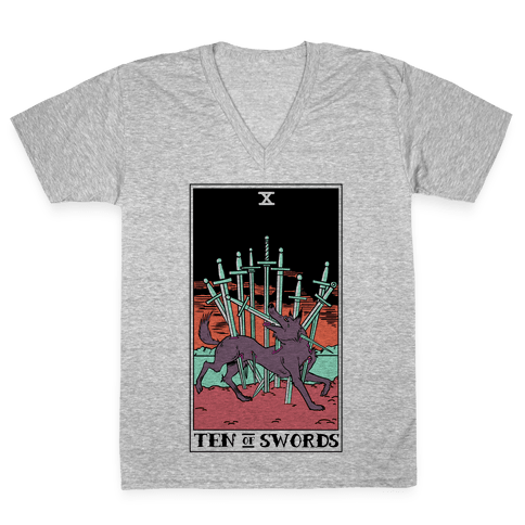 The Ten Of Swords V-Neck Tee Shirt