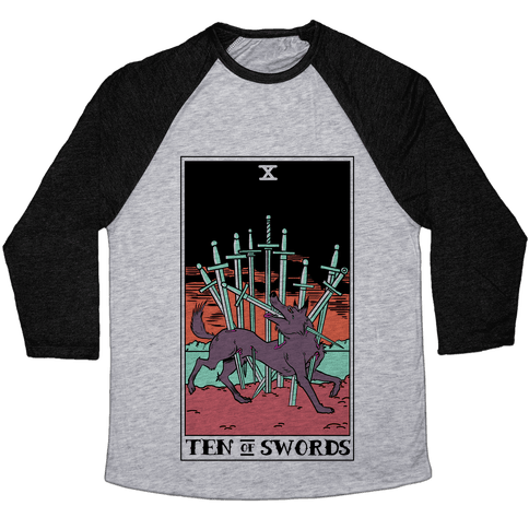 The Ten Of Swords Baseball Tee