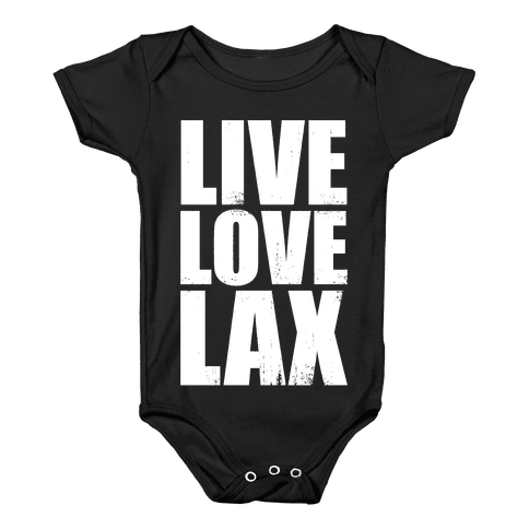 Live, Love, Lax (Dark Tank) Baby Onesy