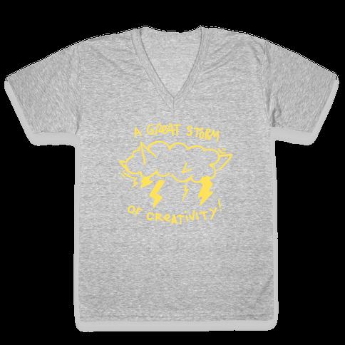A Great Storm Of Creativity V-Neck Tee Shirt