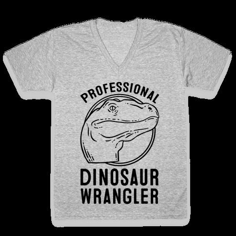 Professional Dinosaur Wrangler V-Neck Tee Shirt