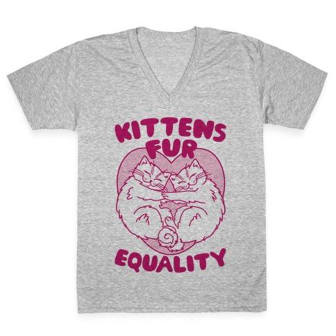 Kittens Fur Equality V-Neck Tee Shirt