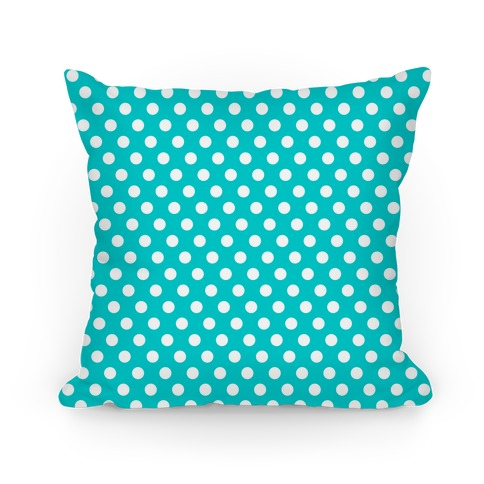 Teal Polka Dot Pattern Pillow