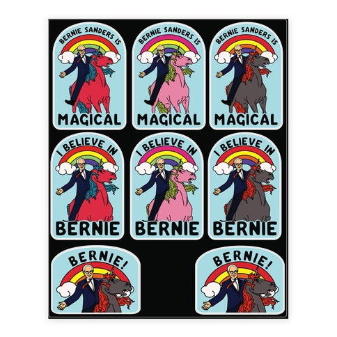 Bernie Unicorn Sticker and Decal Sheet