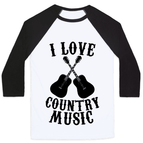 I Love Country Music Baseball Tee