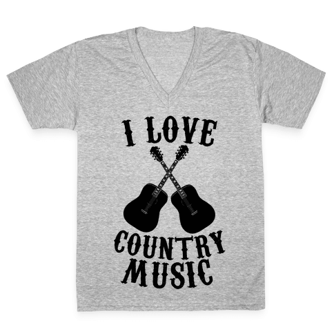 I Love Country Music V-Neck Tee Shirt