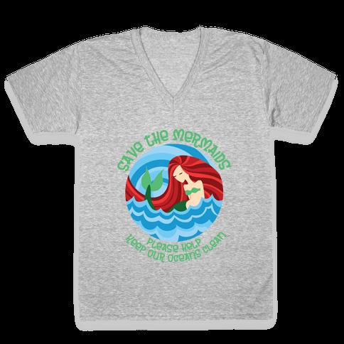 Save The Mermaids V-Neck Tee Shirt