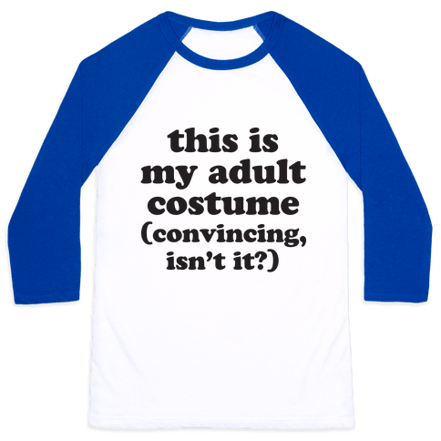 Adult Human Halloween Costume Baseball Tee