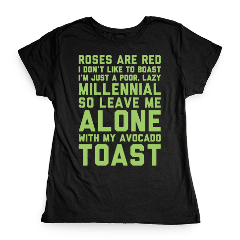 Millennial Poem White Print Womens T-Shirt