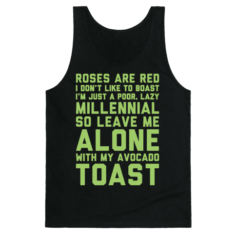 Millennial Poem White Print Tank Top