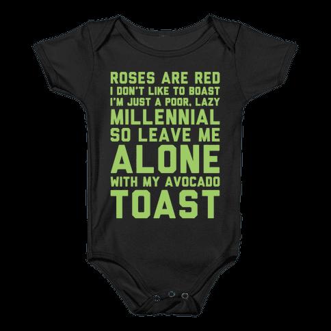 Millennial Poem White Print Baby Onesy