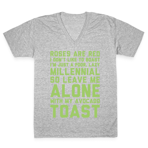 Millennial Poem White Print V-Neck Tee Shirt