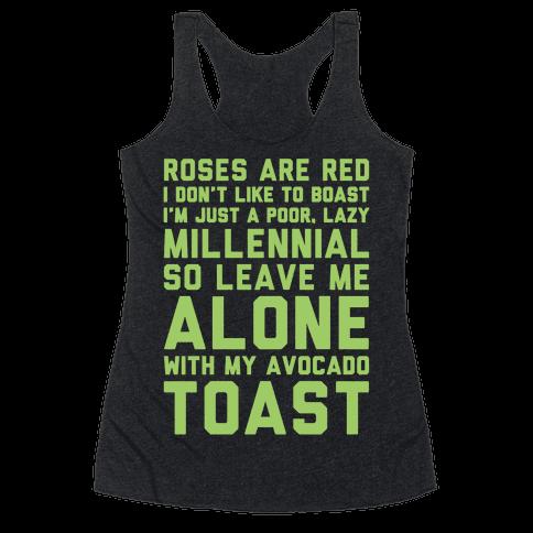 Millennial Poem White Print Racerback Tank Top