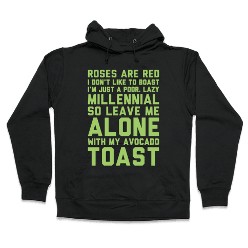Millennial Poem White Print Hooded Sweatshirt