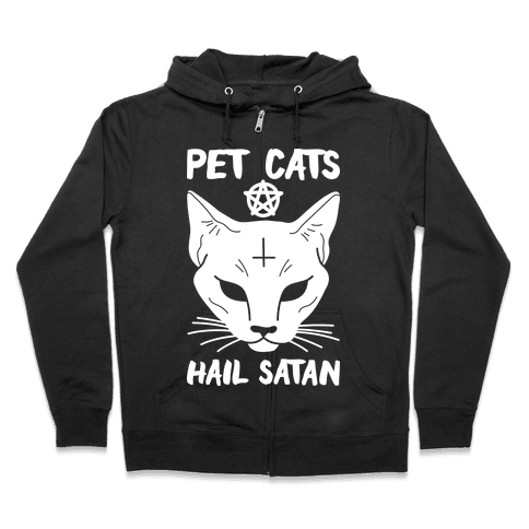 Pet Cats Hail Satan Sphynx Zip Hoodie
