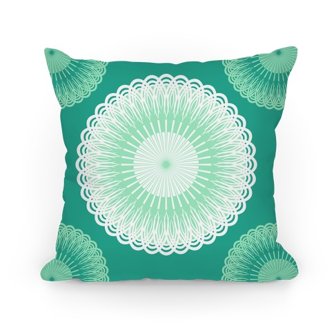 Green and White Flower Mandala Pillow