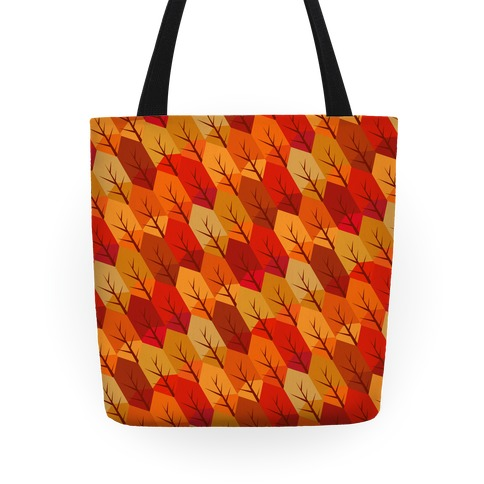 Geometric Fall Leaf Pattern Tote