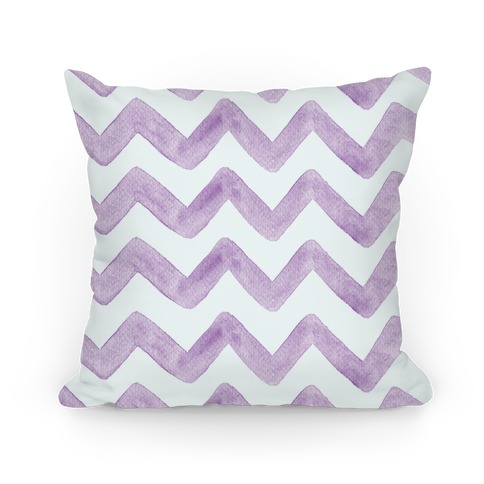 Purple Watercolor Chevron Pattern Pillow